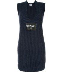 chanel pre-owned 2008 cc logos sleeveless dress one piece - black