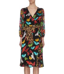 'jesse' butterfly leopard print belted wrap dress