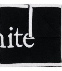 off-white logo felted wool scarf black white