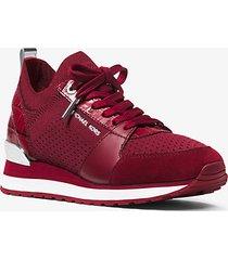 mk sneaker billie in maglia e pelle - granata (rosso) - michael kors