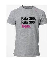 camiseta t-shirt jon cotre frase fala 300 cinza