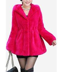elegante cappotto v-nekc con cappuccio in pelliccia sintetica