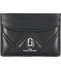 marc jacobs the softshot quilted card case - black