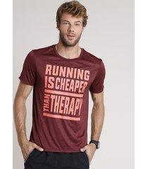 """camiseta masculina esportiva ace """"therapy"""" mescla manga curta gola careca vinho"""