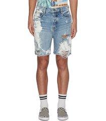 paint splatter distressed denim shorts