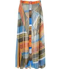 amir slama silk long skirt - multicolour