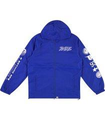 a bathing ape® logo hooded jacket - blue