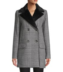 cinzia rocca icons women's faux fur & wool-blend houndstooth jacket - black white - size 4
