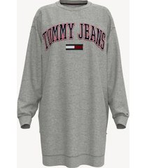 tommy hilfiger women's adaptive tommy jeans sweatshirt dress grey heather - m