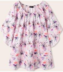 spalla elastica con maniche arricciate con stampa fiori plus camicetta casual taglia