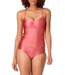anne cole women's shine solids tie-up back tankini top - bronze - size m