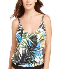 calvin klein printed underwire blouson tankini top women's swimsuit