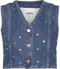 stud denim vests knitted vests blauw ganni