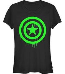 fifth sun marvel women's captain america shield dripping green ooze short sleeve tee shirt