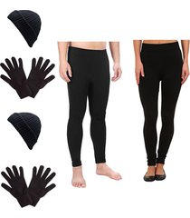 combo invierno legging termico mujer + legging termico hombre + 2 pares de guantes + 2  gorros - negro