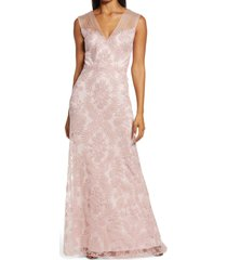 women's tadashi shoji embroidered lace evening gown, size 6 - pink
