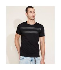 camiseta masculina com recortes manga curta gola careca preta
