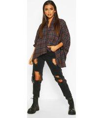 oversized geruite blouse, bruin
