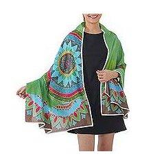 cotton batik shawl, 'splendid forest' (thailand)