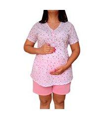 pijama plus size short doll linda gestante rosa floral