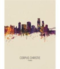 "michael tompsett corpus christie texas skyline portrait iii canvas art - 27"" x 33.5"""