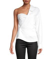 rta women's chiara asymmetric corset top - white - size l
