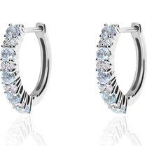 orecchini a cerchio amelie oro bianco topazio e cubic zirconia per donna