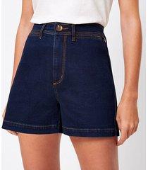 loft welt pocket denim shorts in refined dark indigo wash