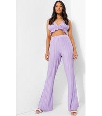 petite plisse broek met wijd uitlopende pijpen, lilac