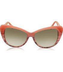balenciaga designer sunglasses, ba0016 44f coral striped burgundy cat eye women's sunglasses