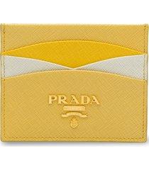 prada saffiano leather credit card holder - yellow