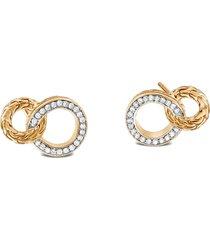 women's john hardy classic chain diamond hoop earrings