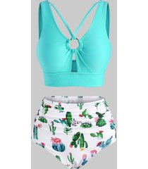 cactus print ring ruched tankini swimwear