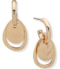 anne klein gold-tone open & closed oval charm hoop earrings