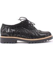 skórzane półbuty zapato 258 czarny zebra