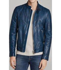 leather jacket for mens blue biker motorcycle genuine lambskin all size