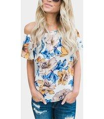 camiseta con volantes y estampado floral al azar