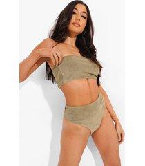badstoffen mix & match strapless bikini top, khaki