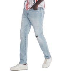 tommy hilfiger denim men's slim-fit tapered lenny destroyed rinse jeans