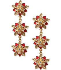 charter club gold-tone crystal poinsettia triple drop earrings, created for macy's