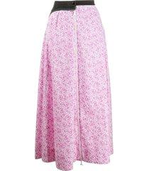 marine serre floral-print midi skirt - pink