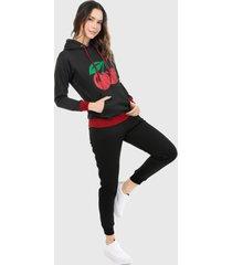 sudadera para mujer conjunto hoodie negro con cerezas