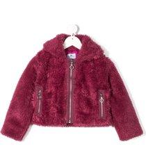 raspberry plum dafni fluffy jacket - pink
