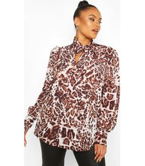 plus leopard snake pussybow blouse, brown