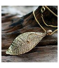 natural leaf necklace, 'forest solo' (thailand)