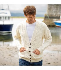 mens merino wool v neck cardigan cream large