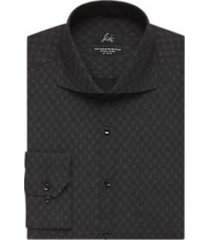 suitor black and gray diamond pattern slim fit dress shirt