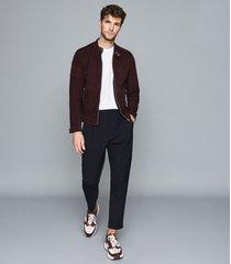 reiss marko - suede cafe racer jacket in bordeaux, mens, size xxl