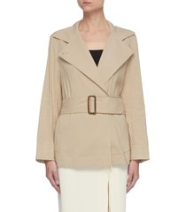 oversize lapel belted linen blend trench coat
