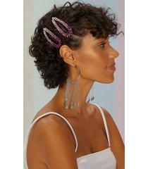 amaro feminino kit presilha cabelo degrade, rosa pink